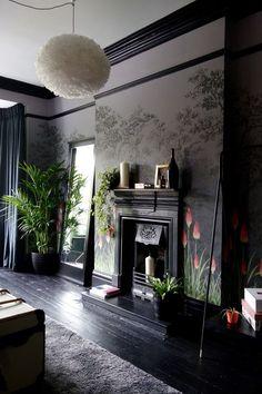 little greene wallpaper - dark grey, black paintwork and coral highlights