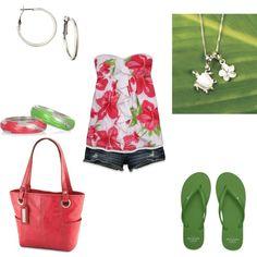 """Pink & Green- Summer"" by jklmnodavis on Polyvore"