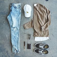 Light Wash Jeans, Sweater, And White Hat