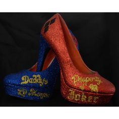 Harley Quinn Suicide Squad inspired Glitter Heels size 9 ($100) ❤ liked on Polyvore featuring shoes and glitter shoes
