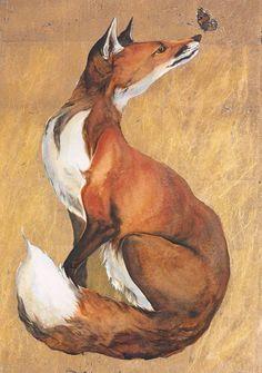 Brief lives. Wolf Hybrid, Gold Leaf Art, Fox Illustration, Ceramic Wall Art, Nocturnal Animals, Art Thou, Fox Art, Woodland Creatures, Wildlife Art