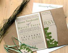 Rustic Eco Friendly Pocket Fold Wedding Invitations by BeaconLane, $7.25
