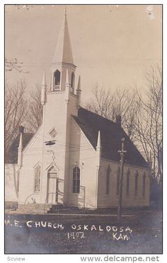 M.E. Church , OSKALOOSA , Kansas , 1907.  Incorporated on May 11, 1860. My ggg-grandfather L.B. Conwell was a trustee.