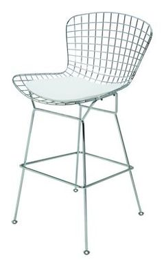 Wireback Counter Stool with White Cushion by Nuevo - HGGA257