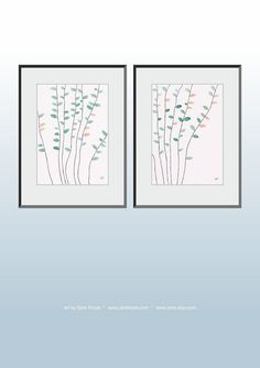 Nature inspired simple branches illustrations. Original art set of two pictures. Green leaves watercolor paintings.