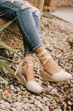 1fcd112b93f Ashley Lace Up Espadrille Wedges In Beige