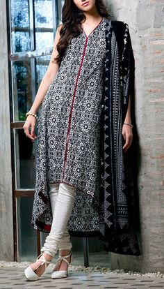 Buy Black/White Cambric Dress by GulAhmed 2015.