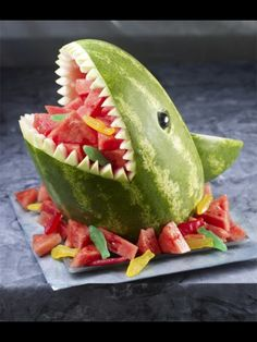 Hungry as a shark!  What a fun way to serve watermelon this summer...