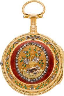 Isaac Soret & Fils Multicolor 18k Gold And Enamel Quarter Repeating Verge Fusee, circa 1760