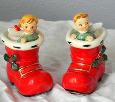 2 Vintage Lefton Christmas Ceramic Boot Angel Candle Holders Pair Japan Labels