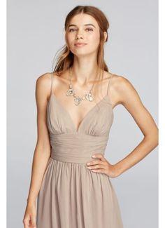 Short Spaghetti Strap Deep V Crinkle Chiffon Dress F19209