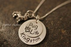 Sterling Silver Pug Life Personalized Pug by SayWhatCreations