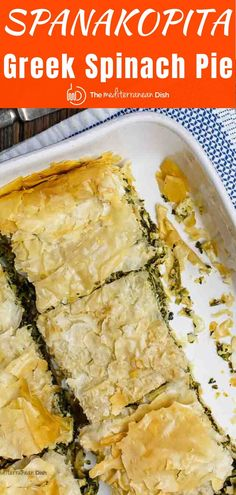 Spanakopita is a Greek Spinach pie made with a comforting filling of spinach and feta layered between crispy phyllo dough. I'm sharing my family's recipe with video tips and tricks for amazing results! Greek Recipes, Vegetable Recipes, Vegetarian Recipes, Healthy Recipes, Amish Recipes, Dutch Recipes, Greek Spinach Pie, Spinach And Feta, Mediterranean Diet Recipes