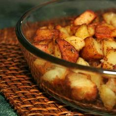 Mediterranean Potatoes:  4-5 medium potatoes, cubed, 1 T olive oil, 1 T butter, melted, 1-2 T Greek seasoning, dash garlic seasoning. Hheat oven to 350. Toss potatoes in remaining ingredients. Bake in 9x13 casserole dish for 30-40 min, turning occasionally, until golden.