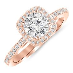 Enjoy exclusive for Houston Diamond District 1 Carat Classic Halo Style Cushion Shape Diamond Engagement Ring Rose Gold Carat H-I Round Brilliant Cut/Shape Center online - Topoffergoods Round Diamond Engagement Rings, Diamond Rings, Diamond Cuts, Halo Engagement, Engagement Jewelry, 1 Carat, Or Rose, Rose Gold, Diamond District