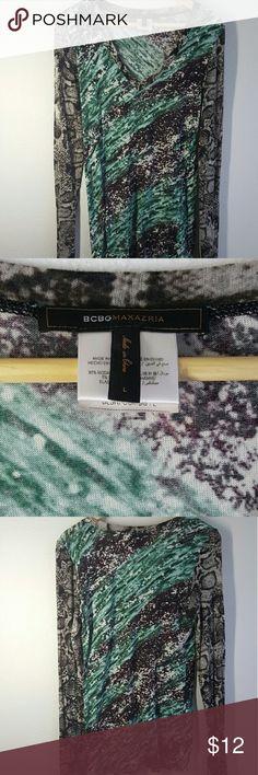 Long sleeve abstract print shirt L Couture print shirt BCBGMaxAzria Tops Tees - Long Sleeve