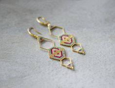 Boho Chic Earrings Ethnic Style Earrings Gold Hexagon