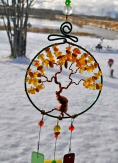Sea glass tree of life windchime amber gold wind chime wire sculpture one of a…