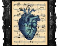 Blue Heart Print Anatomy Heart Print Anatomical Heart Print Antique Music Sheet Book Pages Human Anatomy Heart Print