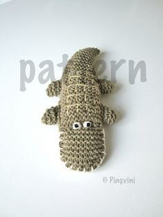 Crocodile knitting pattern PDF, knitted crocodile, tutorial, green, animal, toy, PDF file. $6.00, via Etsy.