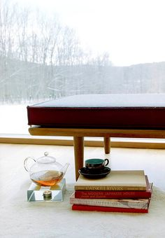 A daybed, also found at a junk shop, was refurbished and now serves as the home's quiet reading spot for the family.