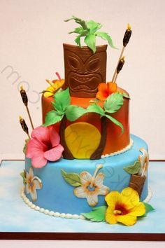 Hawaiian Themed Birthday Cakes For Kids – Cake Design And inside Hawaiian Cake Designs - Cake Design Ideas Hawaiian Birthday, Luau Birthday, Themed Birthday Cakes, Themed Cakes, Moana Birthday, Hawaiian Theme, Luau Cakes, Party Cakes, Bolo Aloha