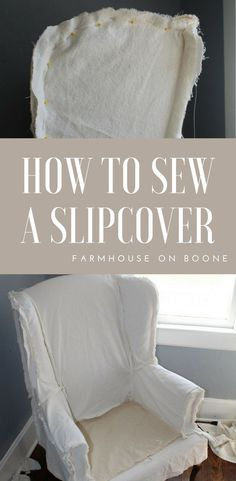 How to sew a slipcover for a wingback chair out of drop cloth #diy #howto #sewingtutorial #sewingprojects #slipcover #diy #farmhouseonboone