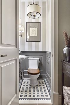 Wainscoting In Bathroom Ideas . Wainscoting In Bathroom Ideas . Bathroom Wainscoting What It is and How to Use It Best Bathroom Designs, Bathroom Interior Design, Cool Bathroom Ideas, Washroom Design, Grey Interior Design, Bathroom Pictures, Interior Trim, Small Toilet Room, Small Toilet Design