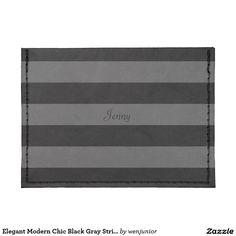 Elegant Modern Chic Black Gray Stripe Line Pattern Tyvek® Card Case Wallet