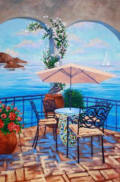 Painting Wine Anyone Landscape Original Oil Cafe by rbealart