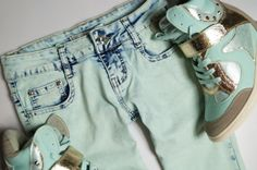 Miętowe spodnie jeans 2014