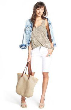 Mavi Jeans Denim Jacket, Caslon® Tank & KUT from the Kloth Shorts Denim Jacket Outfit Summer, Bermuda Shorts Outfit, Modest Shorts, Long Shorts, Summer Outfit, Short Outfits, Casual Outfits, Casual Clothes, Summer Chic