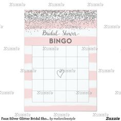 Faux Silver Glitter Bridal Shower Bingo Card