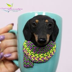 Polymer Clay Ornaments, Polymer Clay Projects, Polymer Clay Charms, Arts And Crafts Projects, Crafts To Make, Polymer Clay Embroidery, Animal Mugs, Mug Art, Clay Mugs