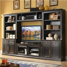 Windsor Transitional Entertainment Wall Unit with Touch Lighting and Wire Management by APA by Whalen