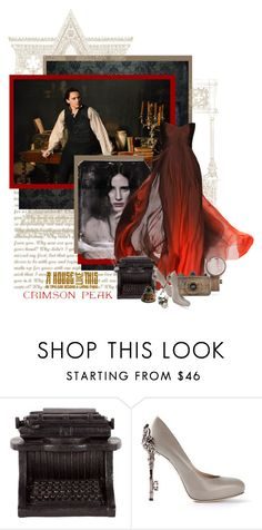 """Indulge Your Dark Side with Crimson Peak : Contest Entry"" by redheadlass ❤ liked on Polyvore featuring Monique Lhuillier, Dot & Bo, John Richmond, vintage, typewriter, MoniqueLhuillier, ink, johnrichmond and CrimsonPeak"