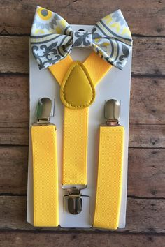 Bowtie &Suspender Set/Yellow and Gray Bow by TwicetheCharmShop