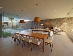 Diseño de comedor de madera de estilo moderno