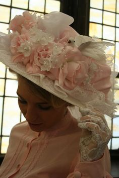 Victorian, Edwardian, Pioneer, and Civil War Fashions Victorian Hats, Victorian Women, Victorian Fashion, Tea Hats, Tea Party Hats, Shabby Chick, Shabby Chic Romantique, Fancy Hats, Kentucky Derby Hats