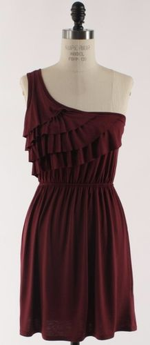 The Ruffle and Flow Dress in Burgundy - Adabelle's