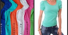 Ruched Sleeve Tees in 9 Colors!