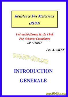 COURS RESISTANCE DES MATERIAUX Casablanca, Genie, Calculus, Livres
