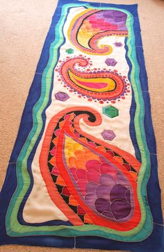 Handpainted Silk scarf ''Paisleys and Gems'' by Silkdust on Etsy