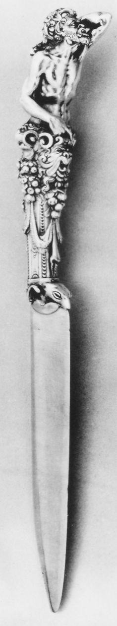 Italian silver knife (from a set), by Antonio Gentili (Antonio da Faenza, Rome, circa late century (Metropolitan Museum of Art, New York. Vintage Silver, Antique Silver, Renaissance, Silver Spoons, Shoe Art, China Patterns, Southern Style, Large Art, Metropolitan Museum