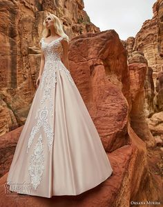 oksana mukha 2018 bridal cap sleeves v neck heavily embellished bodice romantic princess a line wedding dress corset back chapel train (isadora) fv -- Oksana Mukha 2018 Wedding Dresses