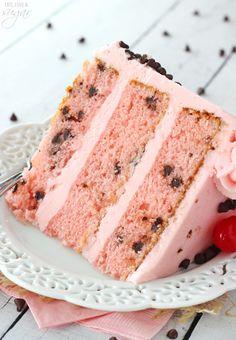 Cherry Chocolate Chip Cake - Full of maraschino cherry flavor and mini chocolate chips!