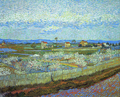 To Van Gogh, Japan embodied an unspoilt artistic vision and a love of nature that appeared to perfectly match his own vision. Vincent van Gogh, La Crau with Peach Trees in Blossom, 1889, The Samuel Courtauld Trust, The Courtauld Gallery, London #VanGoghJapan #VincentvanGogh #VanGoghMuseum #VanGoghAdmires