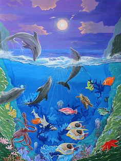 A painting with the sea life