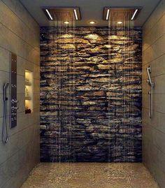 modern master bathroom natural stone wall rain shower heads