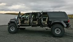 Our associates, Iceland on Track, which offers adventurous tours around the Icelandic landscape, has just added a new monstertruck to their fleet, a luxurious limousine Ford Excursion Super Truck that takes 10 passengers very comfortably. The vehicle is customized with 46 tiers, front and rear differential locks for full 4x4 traction and a 7.3 liter diesel engine that make this monster unstoppable and allows them to go virtually anywhere in the highlands of Iceland.